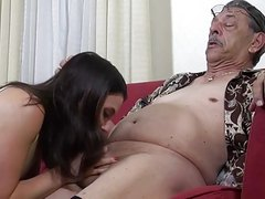 cute brunette fucked by old trash